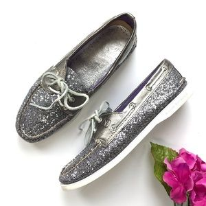 SPERRY TOPSIDER Silver Purple Glitter Boat Shoe